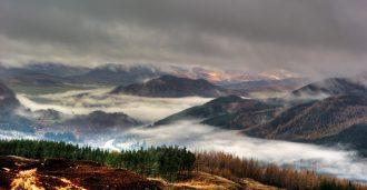 Perthshire Hills in Autumn Mist