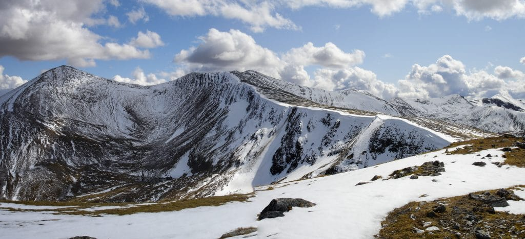 Scottish Highlands in May with some snow