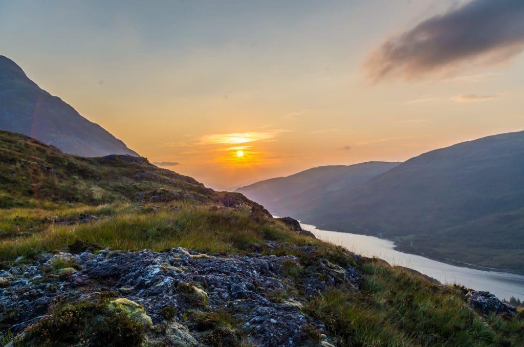 Beautiful sunset at Loch leven in Scotland, Great Brittain, Northern Europe